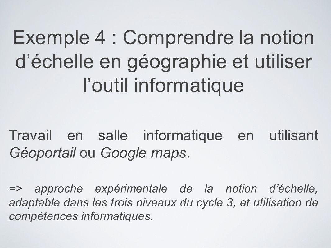 Exemple 4 : Comprendre la notion déchelle en géographie et utiliser loutil informatique Travail en salle informatique en utilisant Géoportail ou Googl