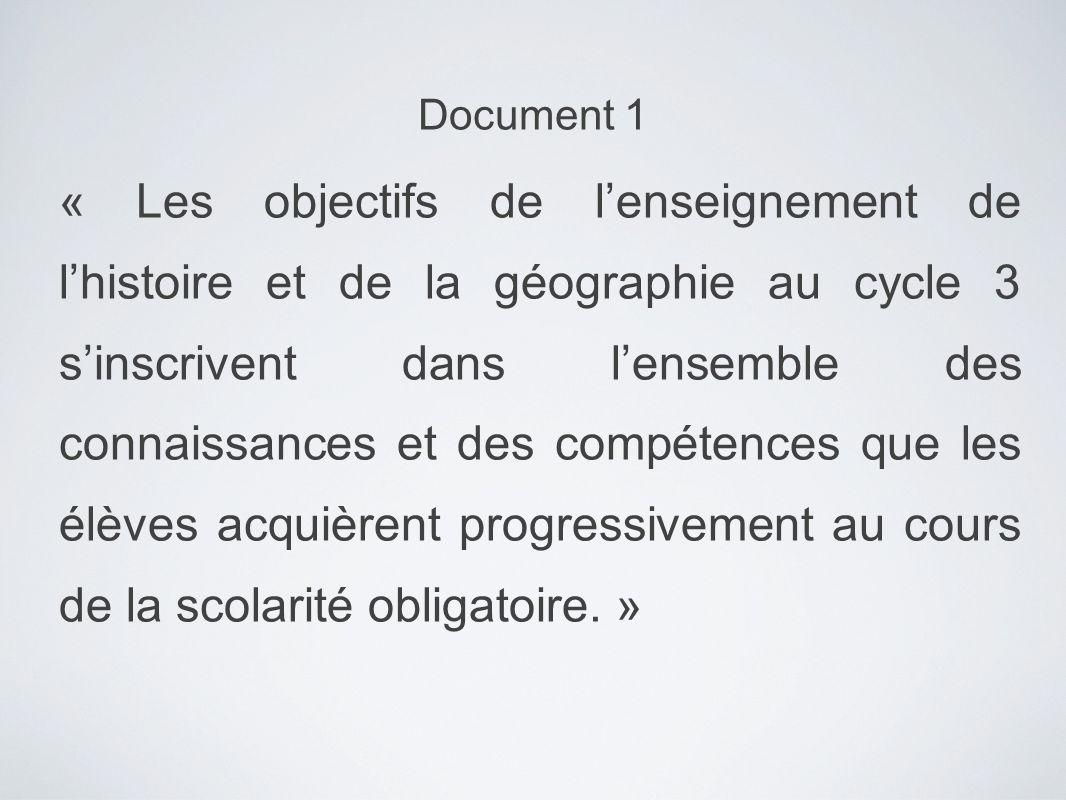 « Les objectifs de lenseignement de lhistoire et de la géographie au cycle 3 sinscrivent dans lensemble des connaissances et des compétences que les é