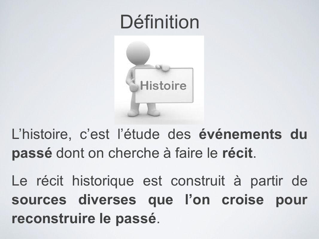 Lhistoire, cest létude des événements du passé dont on cherche à faire le récit. Le récit historique est construit à partir de sources diverses que lo