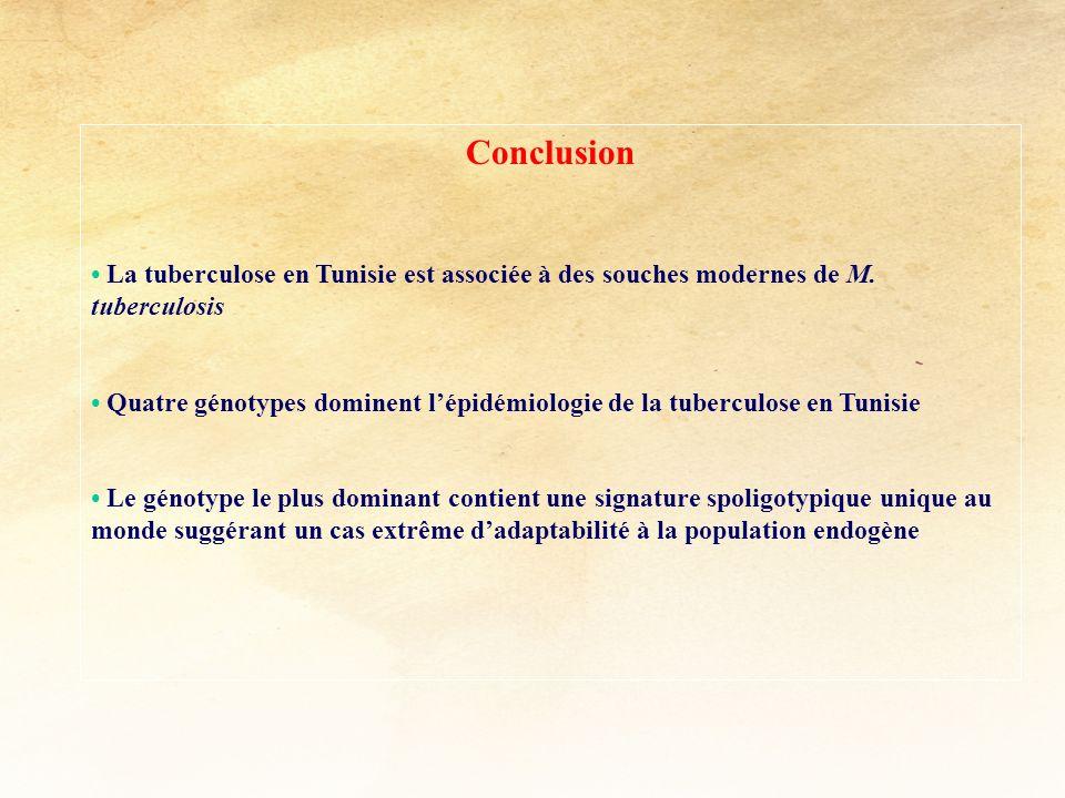 Conclusion La tuberculose en Tunisie est associée à des souches modernes de M. tuberculosis Quatre génotypes dominent lépidémiologie de la tuberculose