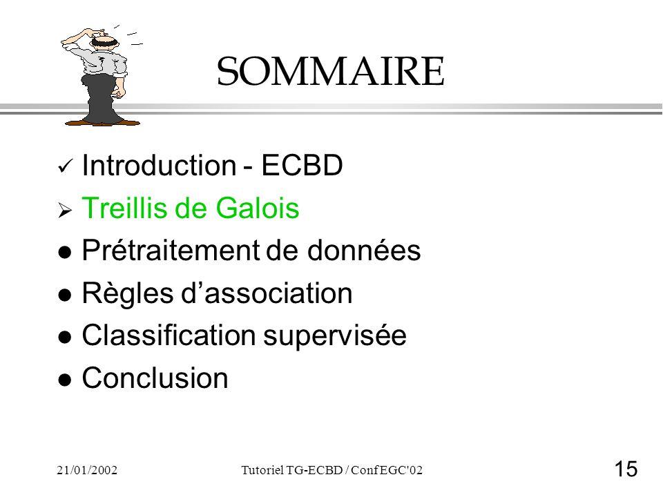 15 21/01/2002Tutoriel TG-ECBD / Conf EGC 02 SOMMAIRE Introduction - ECBD Treillis de Galois l Prétraitement de données l Règles dassociation l Classification supervisée l Conclusion