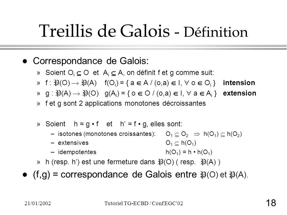 18 21/01/2002Tutoriel TG-ECBD / Conf EGC 02 Treillis de Galois - Définition l Correspondance de Galois: »Soient O i O et A i A, on définit f et g comme suit: »f : P (O) P (A) f(O i ) = { a A / (o,a) I, o O i }intension »g : P (A) P (O) g(A i ) = { o O / (o,a) I, a A i }extension »f et g sont 2 applications monotones décroissantes »Soient h = g f et h = f g, elles sont: –isotones (monotones croissantes):O 1 O 2 h(O 1 ) h(O 2 ) –extensivesO 1 h(O 1 ) –idempotentes h(O 1 ) = h h(O 1 ) »h (resp.