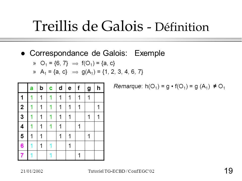 19 21/01/2002Tutoriel TG-ECBD / Conf EGC 02 Treillis de Galois - Définition l Correspondance de Galois: Exemple »O 1 = {6, 7} f(O 1 ) = {a, c} »A 1 = {a, c} g(A 1 ) = {1, 2, 3, 4, 6, 7} Remarque: h(O 1 ) = g f(O 1 ) = g (A 1 ) O 1 abcdefgh 11111111 21111111 31111111 411111 511111 61111 7111