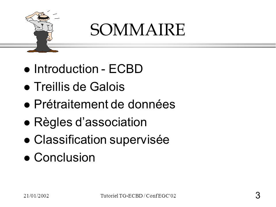 3 21/01/2002Tutoriel TG-ECBD / Conf EGC 02 SOMMAIRE lIlIntroduction - ECBD lTlTreillis de Galois lPlPrétraitement de données lRlRègles dassociation lClClassification supervisée lClConclusion