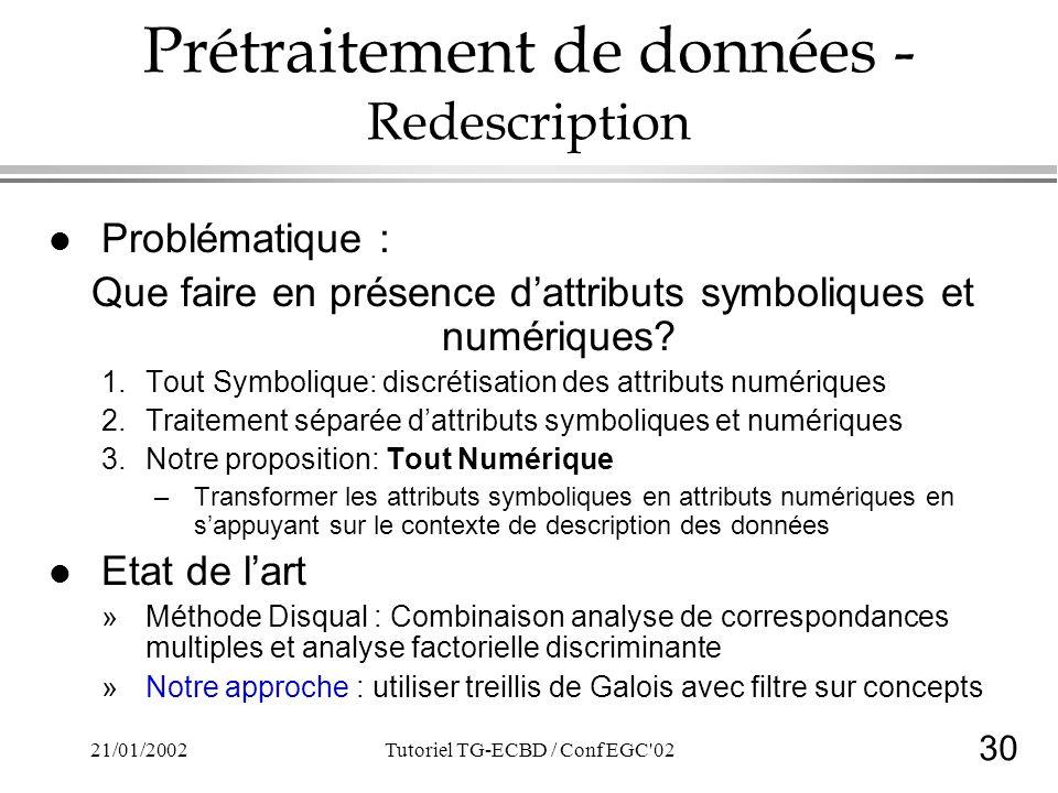 30 21/01/2002Tutoriel TG-ECBD / Conf EGC 02 Prétraitement de données - Redescription l Problématique : Que faire en présence dattributs symboliques et numériques.