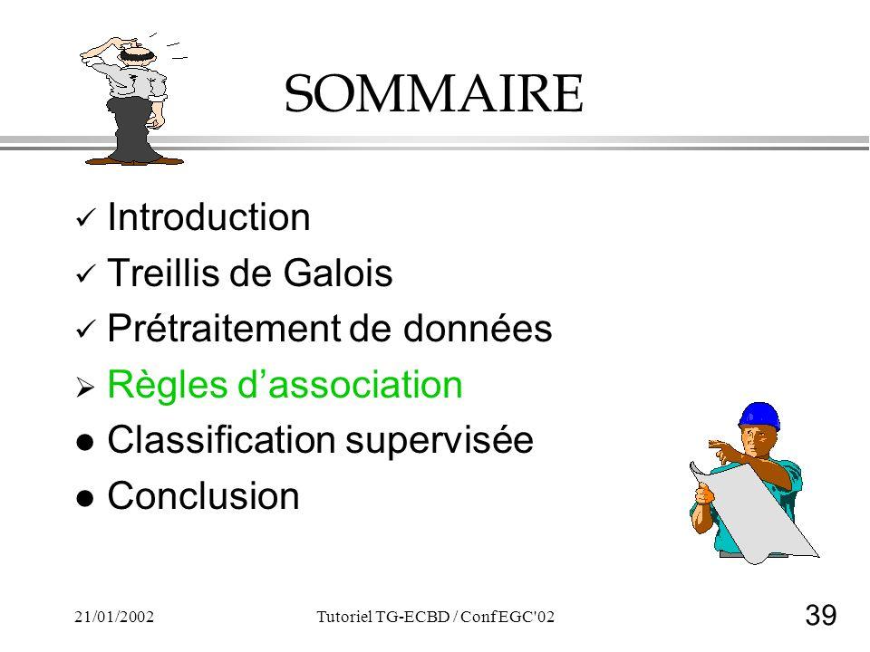39 21/01/2002Tutoriel TG-ECBD / Conf EGC 02 SOMMAIRE Introduction Treillis de Galois Prétraitement de données Règles dassociation l Classification supervisée l Conclusion
