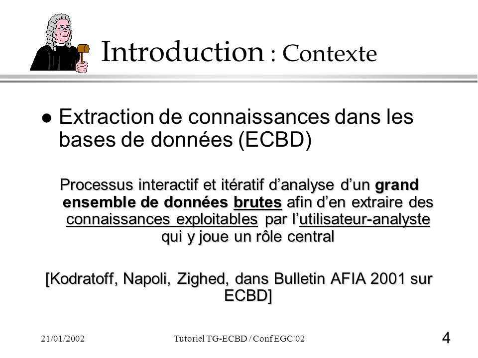 4 21/01/2002Tutoriel TG-ECBD / Conf EGC'02 Introduction : Contexte l Extraction de connaissances dans les bases de données (ECBD) Processus interactif