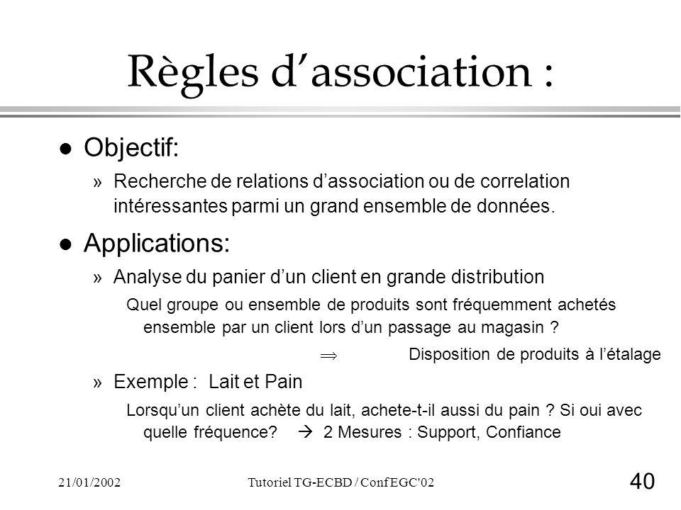 40 21/01/2002Tutoriel TG-ECBD / Conf EGC 02 Règles dassociation : lOlObjectif: »R»Recherche de relations dassociation ou de correlation intéressantes parmi un grand ensemble de données.
