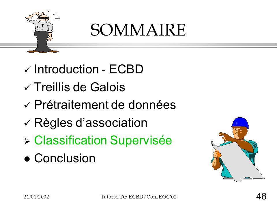 48 21/01/2002Tutoriel TG-ECBD / Conf EGC 02 SOMMAIRE Introduction - ECBD Treillis de Galois Prétraitement de données Règles dassociation Classification Supervisée l Conclusion