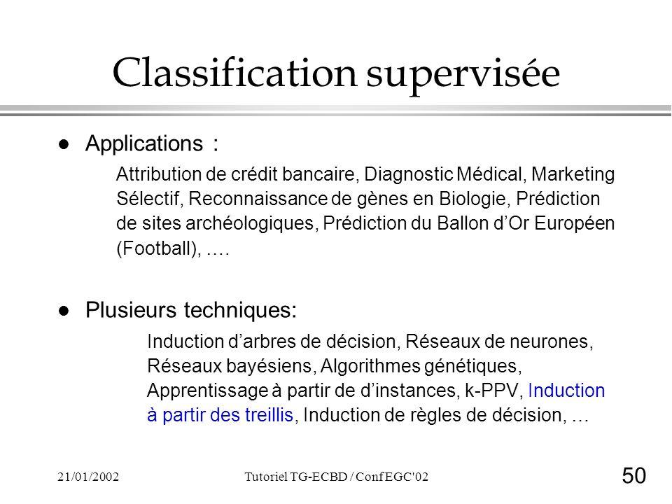 50 21/01/2002Tutoriel TG-ECBD / Conf EGC'02 Classification supervisée l Applications : Attribution de crédit bancaire, Diagnostic Médical, Marketing S