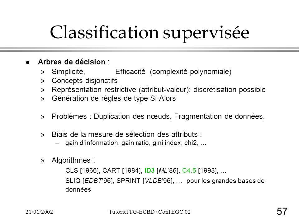 57 21/01/2002Tutoriel TG-ECBD / Conf EGC 02 Classification supervisée l Arbres de décision : »Simplicité, Efficacité (complexité polynomiale) »Concepts disjonctifs »Représentation restrictive (attribut-valeur): discrétisation possible »Génération de règles de type Si-Alors »Problèmes : Duplication des nœuds, Fragmentation de données, »Biais de la mesure de sélection des attributs : –gain dinformation, gain ratio, gini index, chi2, … »Algorithmes : CLS [1966], CART [1984], ID3 [ML86], C4.5 [1993], … SLIQ [EDBT96], SPRINT [VLDB96], … pour les grandes bases de données