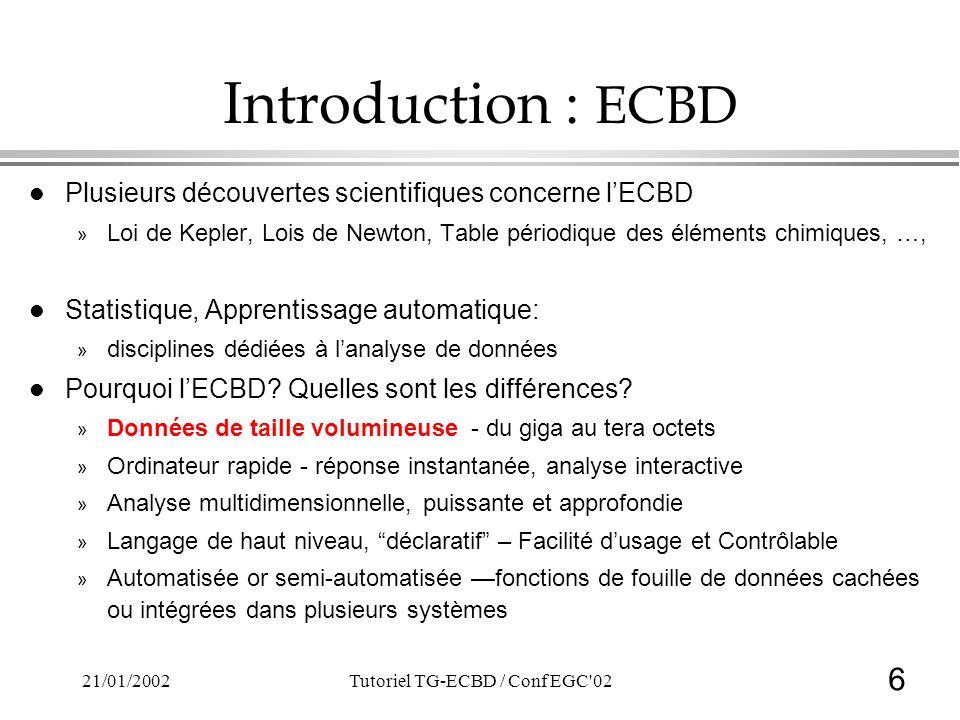 6 21/01/2002Tutoriel TG-ECBD / Conf EGC'02 Introduction : ECBD l Plusieurs découvertes scientifiques concerne lECBD » Loi de Kepler, Lois de Newton, T