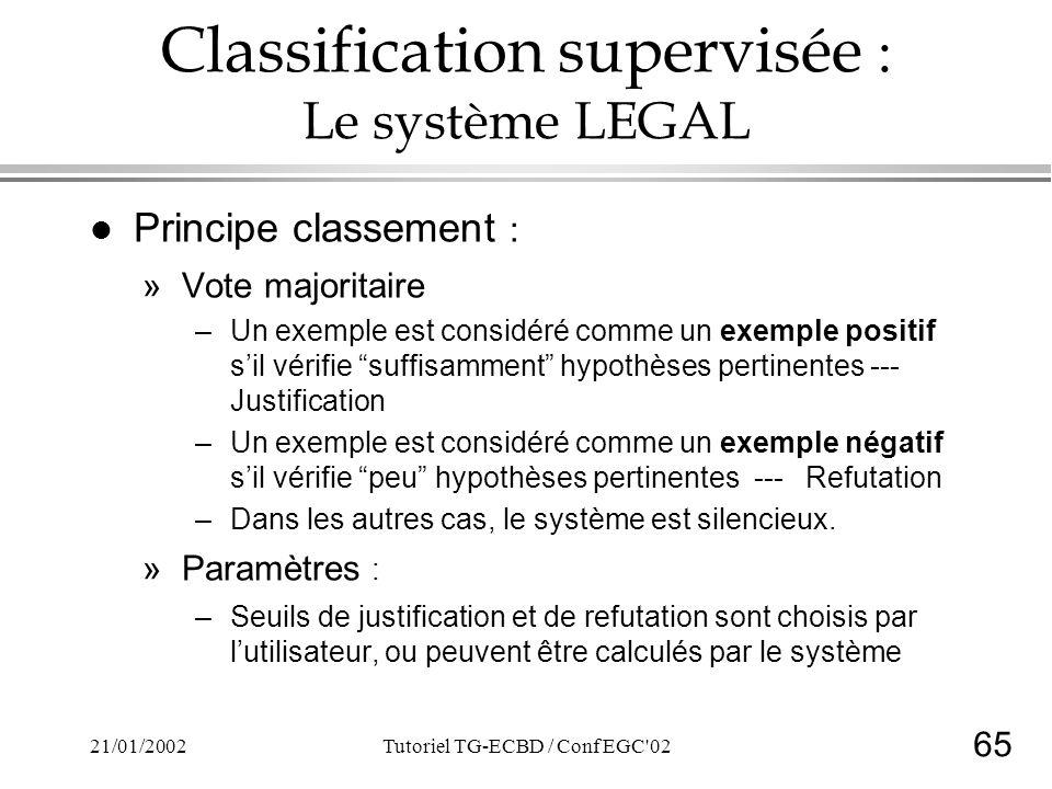 65 21/01/2002Tutoriel TG-ECBD / Conf EGC 02 Classification supervisée : Le système LEGAL l Principe classement : »Vote majoritaire –Un exemple est considéré comme un exemple positif sil vérifie suffisamment hypothèses pertinentes --- Justification –Un exemple est considéré comme un exemple négatif sil vérifie peu hypothèses pertinentes --- Refutation –Dans les autres cas, le système est silencieux.