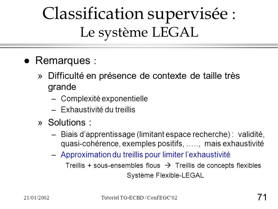 71 21/01/2002Tutoriel TG-ECBD / Conf EGC 02 Classification supervisée : Le système LEGAL l Remarques : »Difficulté en présence de contexte de taille très grande –Complexité exponentielle –Exhaustivité du treillis »Solutions : –Biais dapprentissage (limitant espace recherche) : validité, quasi-cohérence, exemples positifs, ….., mais exhaustivité –Approximation du treillis pour limiter lexhaustivité Treillis + sous-ensembles flous Treillis de concepts flexibles Système Flexible-LEGAL