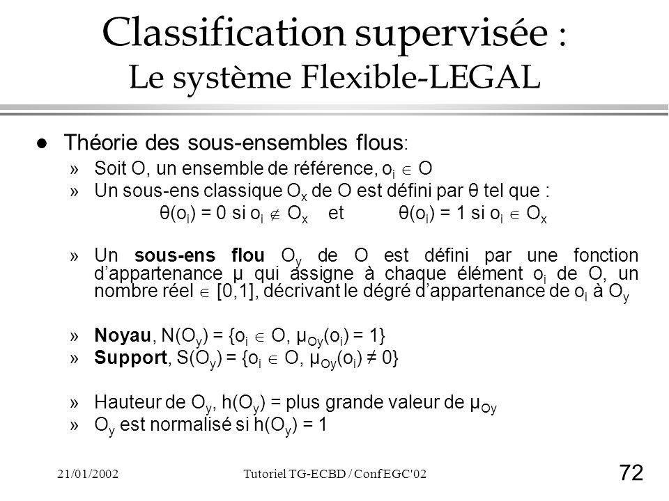 72 21/01/2002Tutoriel TG-ECBD / Conf EGC 02 Classification supervisée : Le système Flexible-LEGAL l Théorie des sous-ensembles flous : »Soit O, un ensemble de référence, o i O »Un sous-ens classique O x de O est défini par θ tel que : θ(o i ) = 0 si o i O x et θ(o i ) = 1 si o i O x »Un sous-ens flou O y de O est défini par une fonction dappartenance µ qui assigne à chaque élément o i de O, un nombre réel [0,1], décrivant le dégré dappartenance de o i à O y »Noyau, N(O y ) = {o i O, µ Oy (o i ) = 1} »Support, S(O y ) = {o i O, µ Oy (o i ) 0} »Hauteur de O y, h(O y ) = plus grande valeur de µ Oy »O y est normalisé si h(O y ) = 1