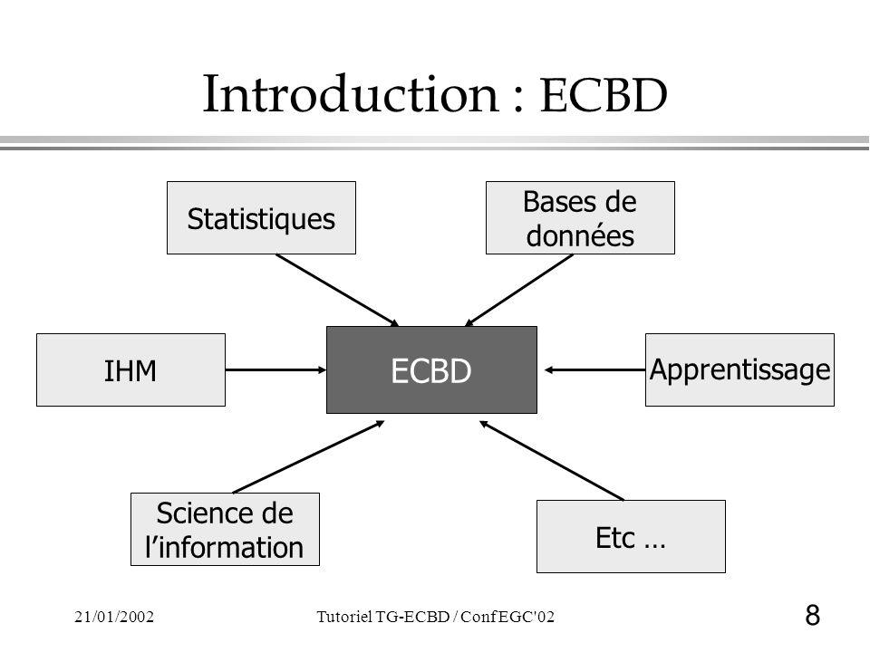 8 21/01/2002Tutoriel TG-ECBD / Conf EGC'02 Introduction : ECBD ECBD Statistiques Bases de données Etc … Science de linformation IHM Apprentissage