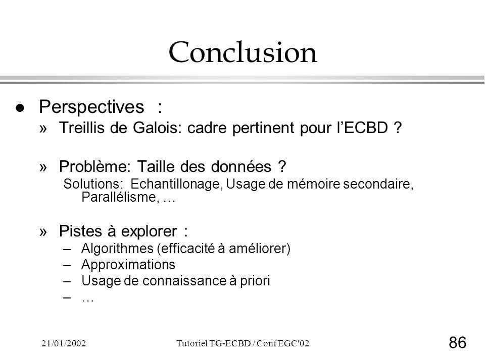 86 21/01/2002Tutoriel TG-ECBD / Conf EGC'02 Conclusion l Perspectives : »Treillis de Galois: cadre pertinent pour lECBD ? »Problème: Taille des donnée
