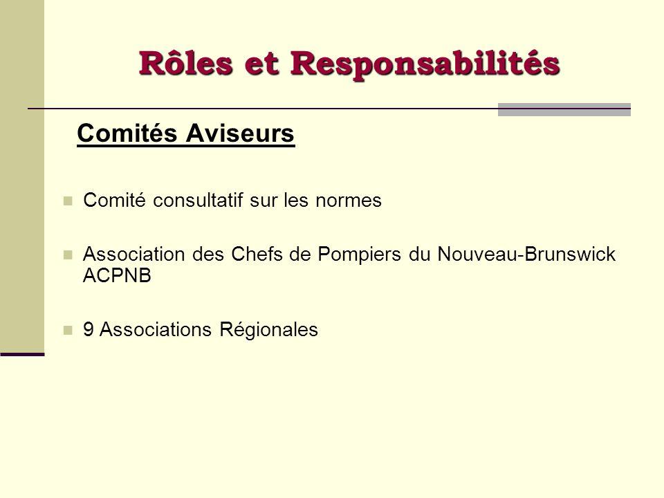 Comités Aviseurs Comité consultatif sur les normes Association des Chefs de Pompiers du Nouveau-Brunswick ACPNB 9 Associations Régionales Rôles et Res