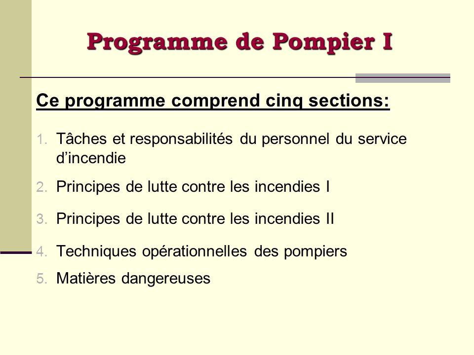 Programme de Pompier I Ce programme comprend cinq sections: 1. Tâches et responsabilités du personnel du service dincendie 2. Principes de lutte contr
