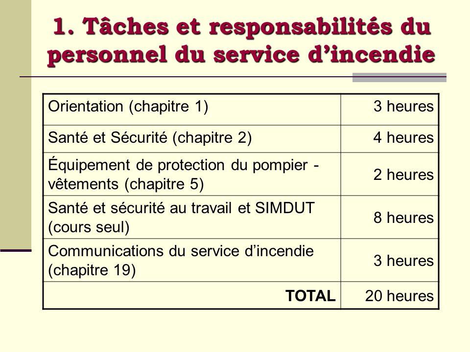1. Tâches et responsabilités du personnel du service dincendie Orientation (chapitre 1)3 heures Santé et Sécurité (chapitre 2)4 heures Équipement de p