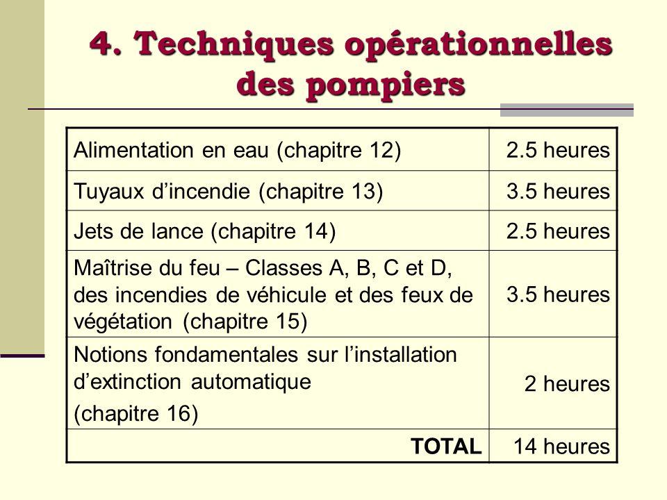 4. Techniques opérationnelles des pompiers Alimentation en eau (chapitre 12)2.5 heures Tuyaux dincendie (chapitre 13)3.5 heures Jets de lance (chapitr