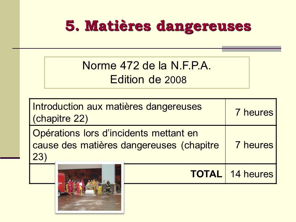 5. Matières dangereuses Introduction aux matières dangereuses (chapitre 22) 7 heures Opérations lors dincidents mettant en cause des matières dangereu