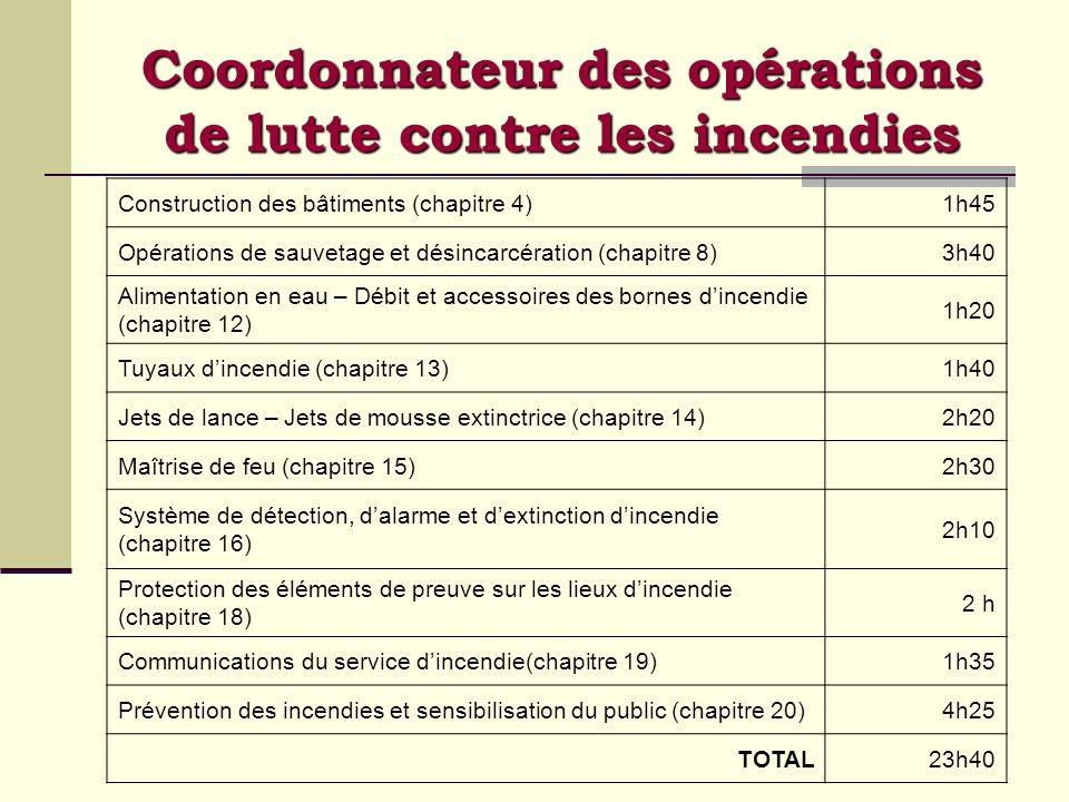 Coordonnateur des opérations de lutte contre les incendies Construction des bâtiments (chapitre 4)1h45 Opérations de sauvetage et désincarcération (ch