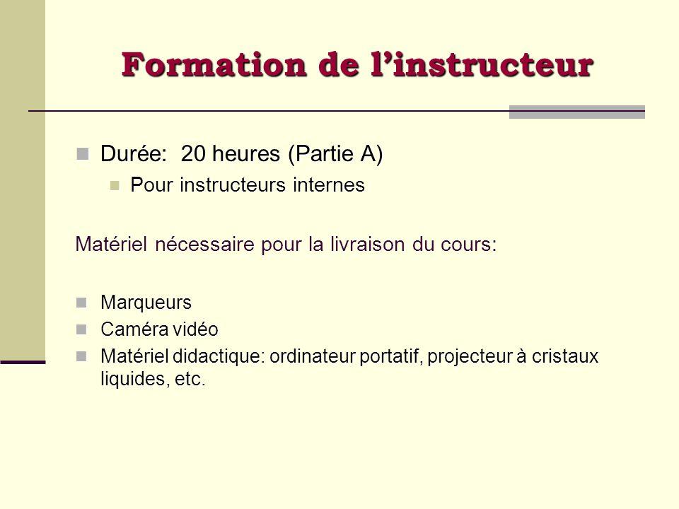 Formation de linstructeur Durée: 20 heures (Partie A) Durée: 20 heures (Partie A) Pour instructeurs internes Pour instructeurs internes Matériel néces