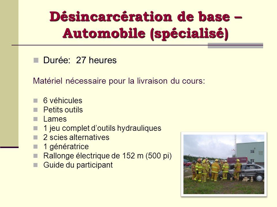 Désincarcération de base – Automobile (spécialisé) Durée: 27 heures Durée: 27 heures Matériel nécessaire pour la livraison du cours: 6 véhicules Petit