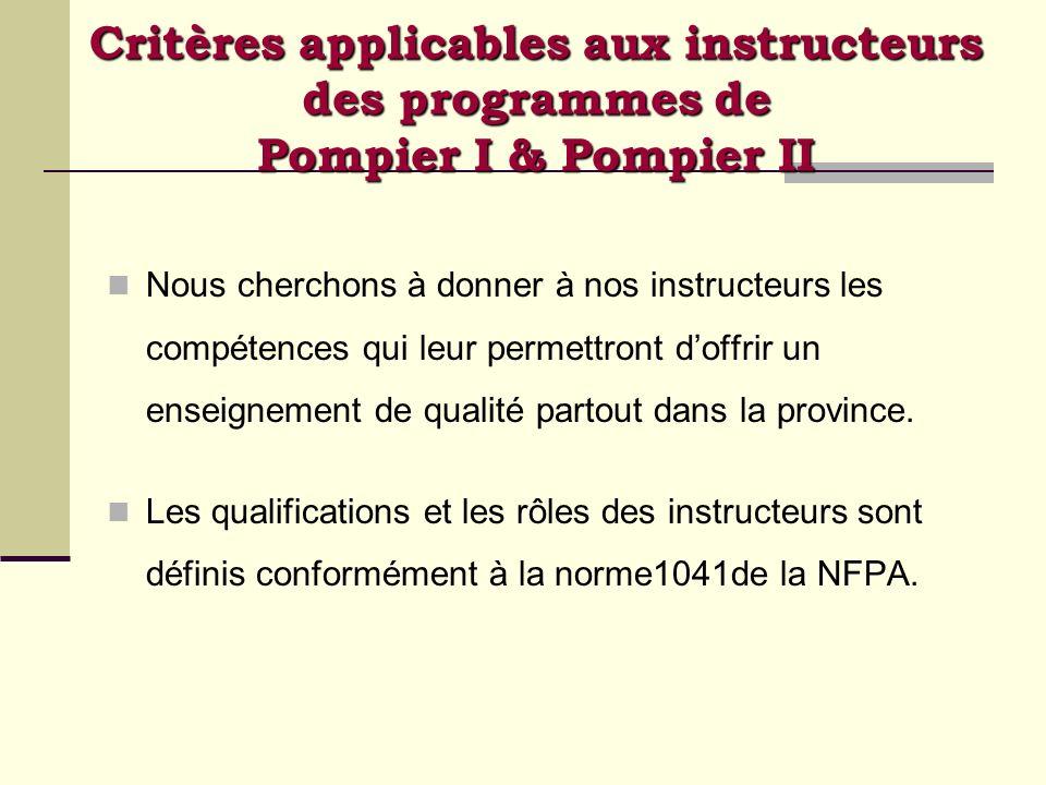 Critères applicables aux instructeurs des programmes de Pompier I & Pompier II Nous cherchons à donner à nos instructeurs les compétences qui leur per