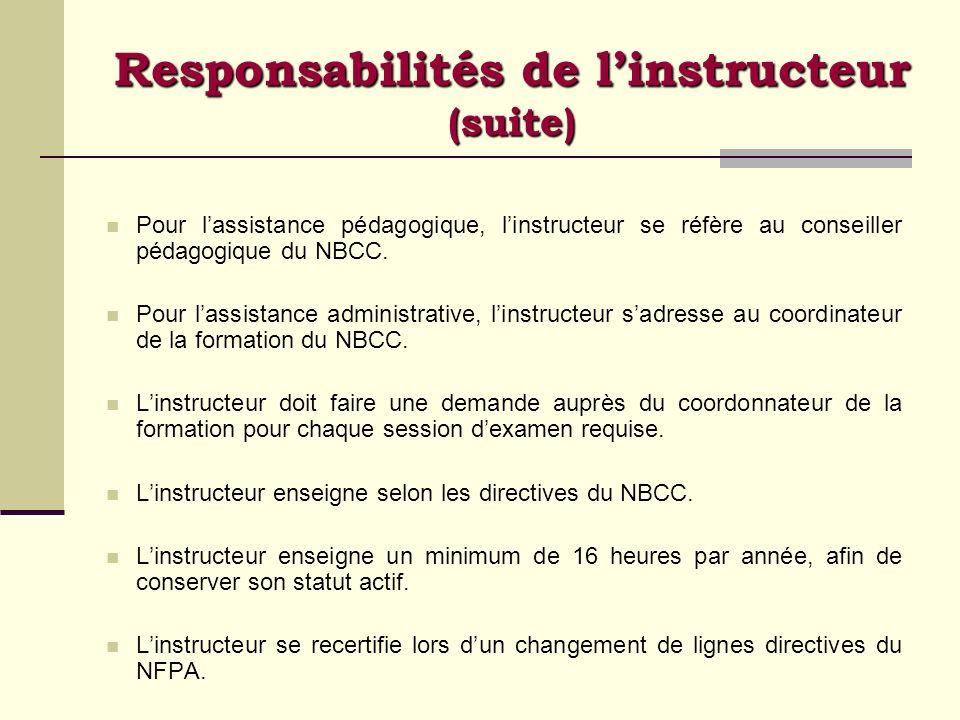 Pour lassistance pédagogique, linstructeur se réfère au conseiller pédagogique du NBCC. Pour lassistance administrative, linstructeur sadresse au coor