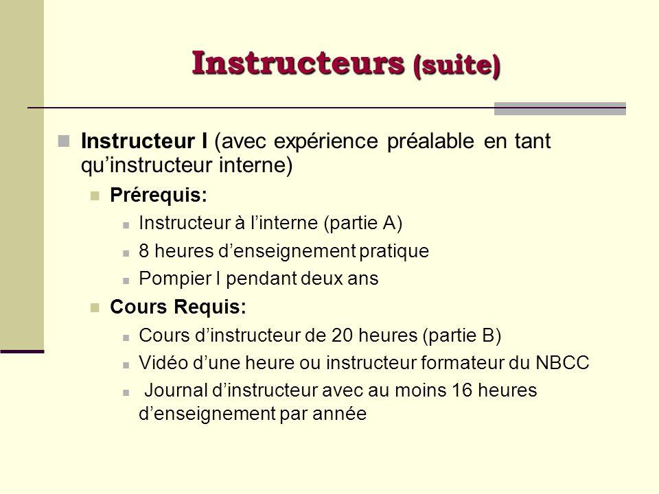 Instructeur I (avec expérience préalable en tant quinstructeur interne) Prérequis: Instructeur à linterne (partie A) 8 heures denseignement pratique P