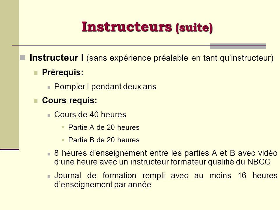 Instructeur I (sans expérience préalable en tant quinstructeur) Prérequis: Pompier I pendant deux ans Cours requis: Cours de 40 heures Partie A de 20