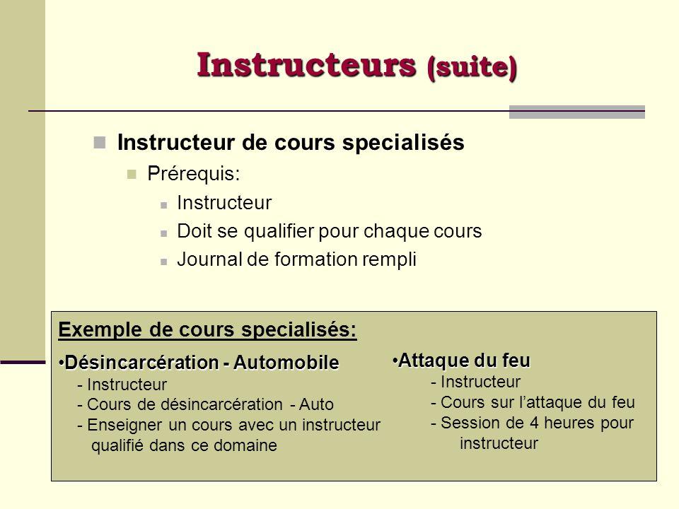 Instructeurs (suite) Instructeur de cours specialisés Prérequis: Instructeur Doit se qualifier pour chaque cours Journal de formation rempli Exemple d