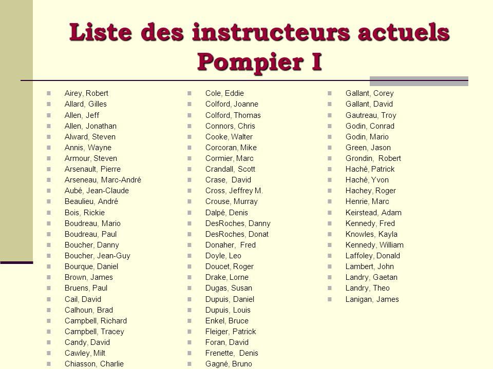 Liste des instructeurs actuels Pompier I Airey, Robert Allard, Gilles Allen, Jeff Allen, Jonathan Alward, Steven Annis, Wayne Armour, Steven Arsenault