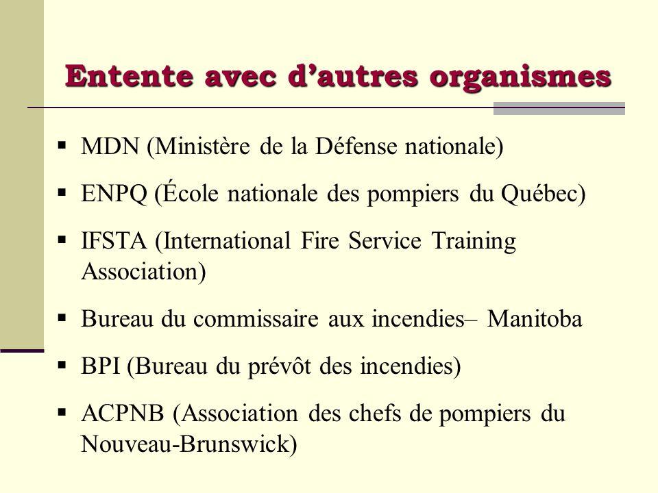 Entente avec dautres organismes MDN (Ministère de la Défense nationale) ENPQ (École nationale des pompiers du Québec) IFSTA (International Fire Servic