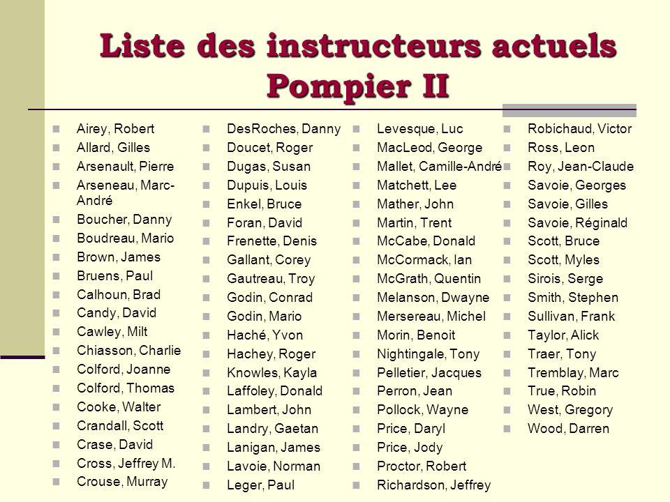 Liste des instructeurs actuels Pompier II Airey, Robert Allard, Gilles Arsenault, Pierre Arseneau, Marc- André Boucher, Danny Boudreau, Mario Brown, J