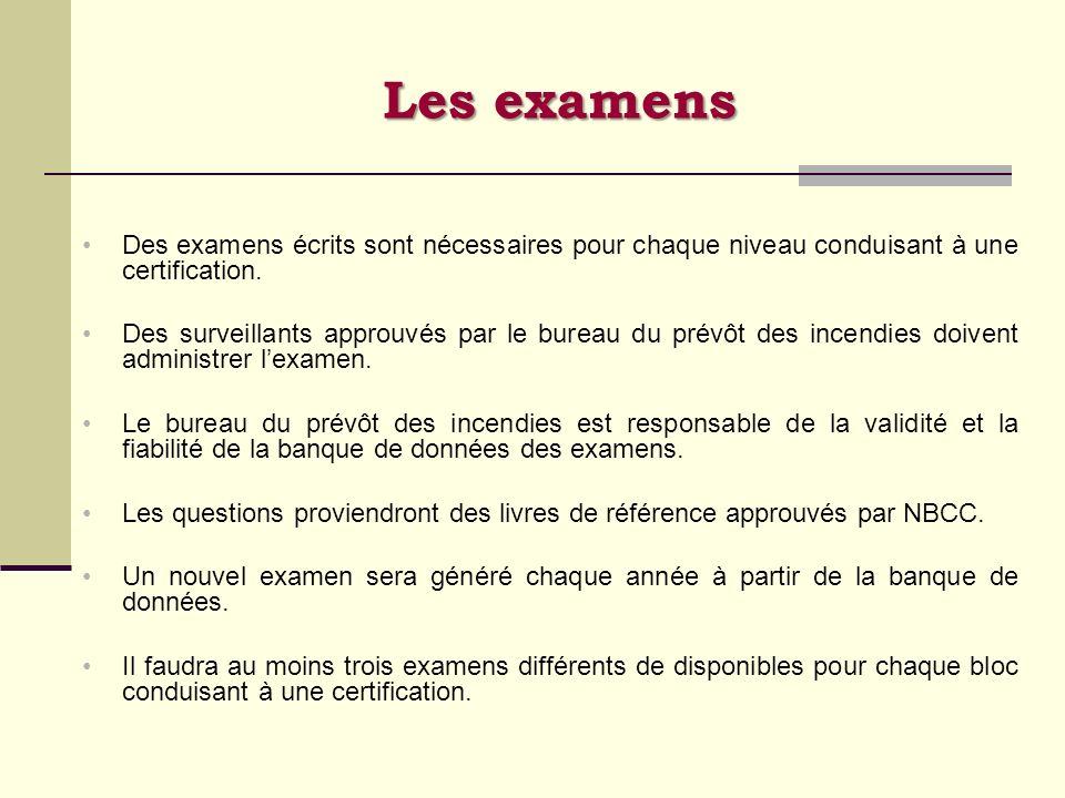 Des examens écrits sont nécessaires pour chaque niveau conduisant à une certification. Des surveillants approuvés par le bureau du prévôt des incendie