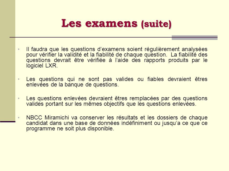 Les examens (suite) Il faudra que les questions dexamens soient régulièrement analysées pour vérifier la validité et la fiabilité de chaque question.