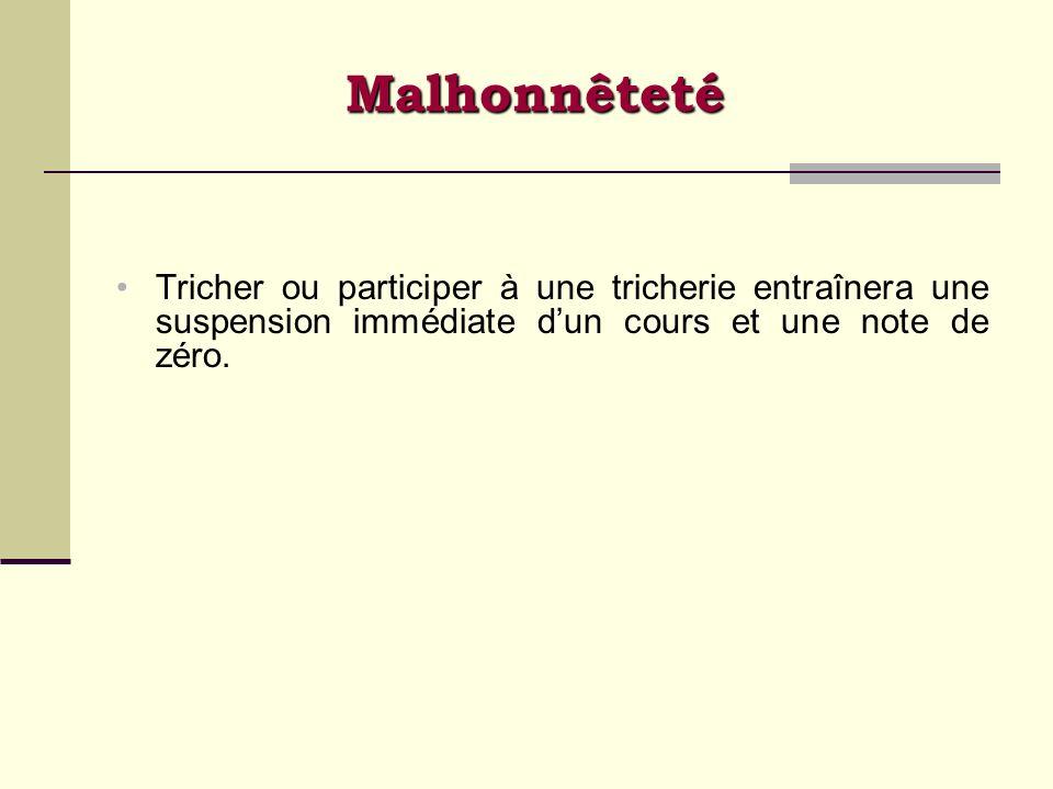 Malhonnêteté Tricher ou participer à une tricherie entraînera une suspension immédiate dun cours et une note de zéro.