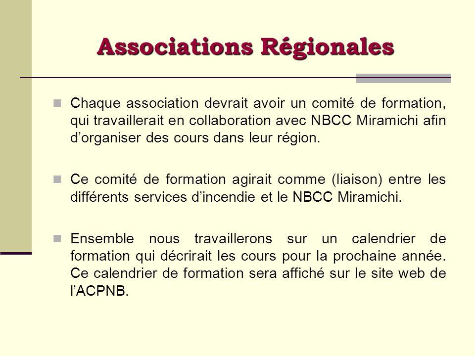 Associations Régionales Chaque association devrait avoir un comité de formation, qui travaillerait en collaboration avec NBCC Miramichi afin dorganise