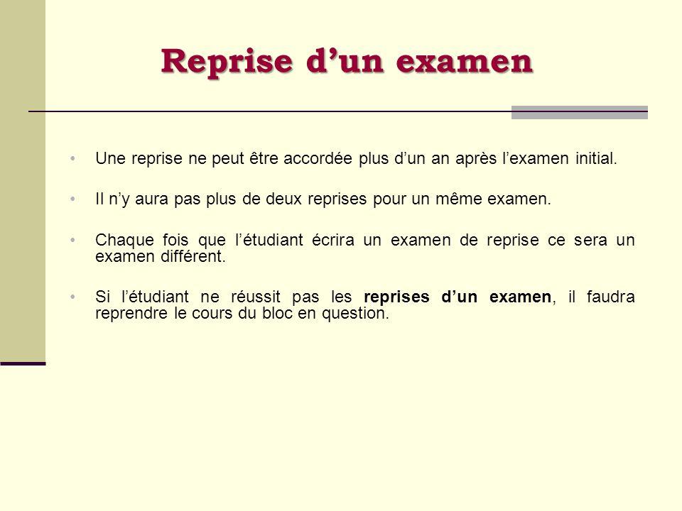Reprise dun examen Une reprise ne peut être accordée plus dun an après lexamen initial. Il ny aura pas plus de deux reprises pour un même examen. Chaq