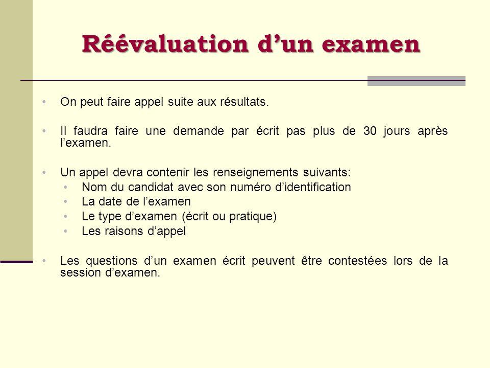 Réévaluation dun examen On peut faire appel suite aux résultats. Il faudra faire une demande par écrit pas plus de 30 jours après lexamen. Un appel de