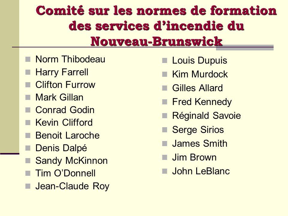 Comité sur les normes de formation des services dincendie du Nouveau-Brunswick Norm Thibodeau Harry Farrell Clifton Furrow Mark Gillan Conrad Godin Ke