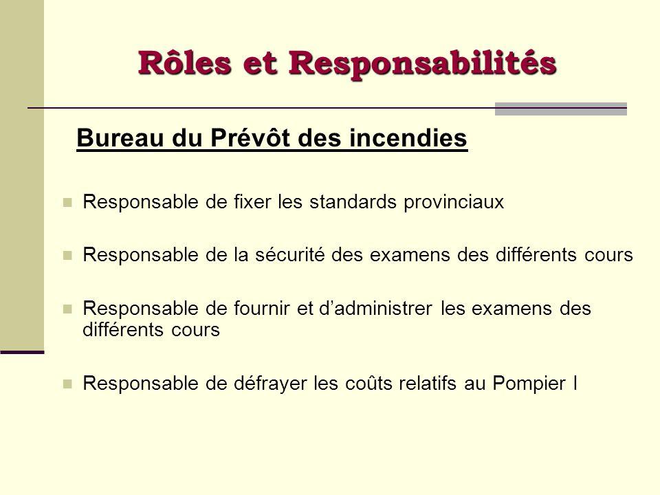 Rôles et Responsabilités Bureau du Prévôt des incendies Responsable de fixer les standards provinciaux Responsable de la sécurité des examens des diff