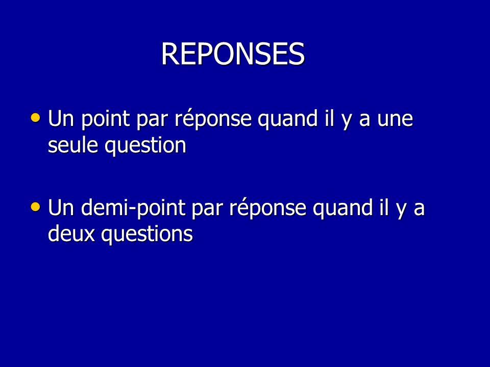 REPONSES REPONSES Un point par réponse quand il y a une seule question Un point par réponse quand il y a une seule question Un demi-point par réponse quand il y a deux questions Un demi-point par réponse quand il y a deux questions