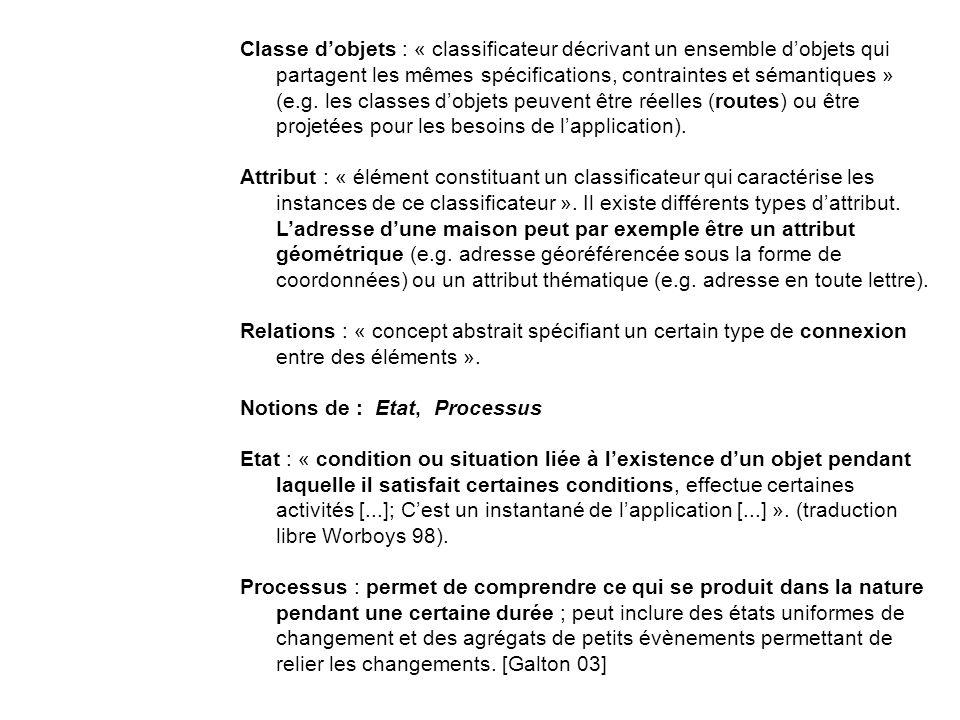 Classe dobjets : « classificateur décrivant un ensemble dobjets qui partagent les mêmes spécifications, contraintes et sémantiques » (e.g.