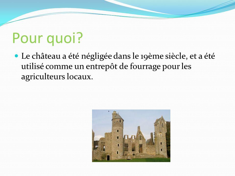 Pour quoi? Le château a été négligée dans le 19ème siècle, et a été utilisé comme un entrepôt de fourrage pour les agriculteurs locaux.