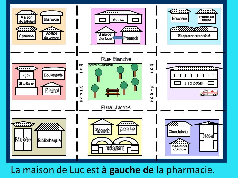 La maison de Luc est à gauche de la pharmacie.