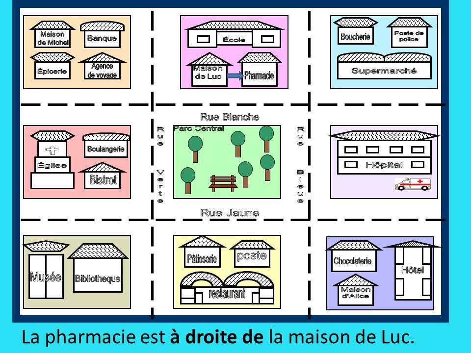 La pharmacie est à droite de la maison de Luc.
